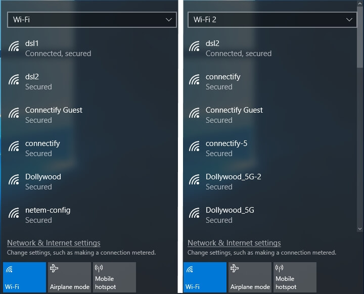 How connected network adapters appear in Windows 10