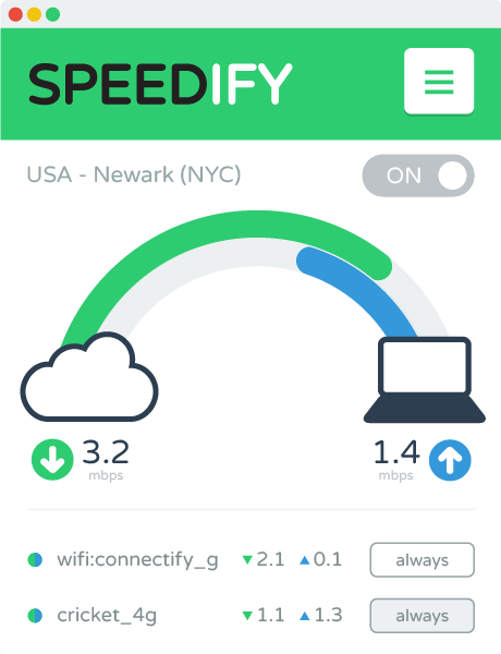 Speedify User Interface